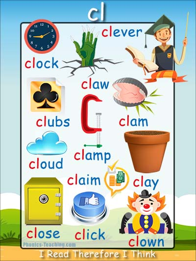 cl words - cl phonics poster - FREE & Printable - Ideal