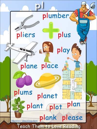Phonics Poster - pl sound - phonics-teaching.com