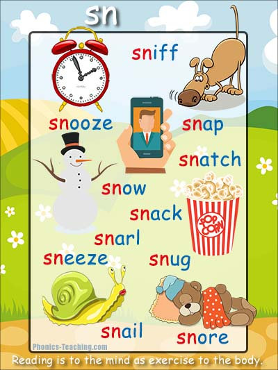 Phonics Poster Sn Sound Sn Word List Words Starting With Sn on Learning Sight Word For