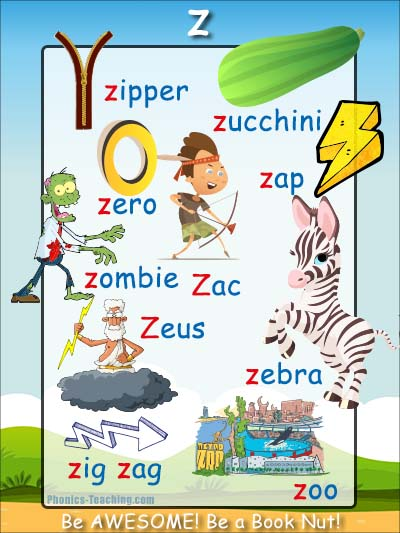 words with the letter z words that start with z phonics poster free amp printable 1743