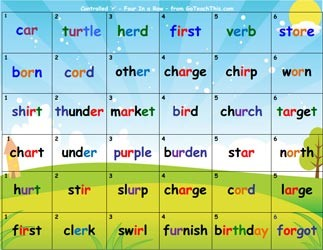 FREE r controlled phonics game