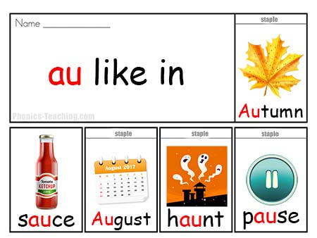 Phonics Poster Au Sound Au Word List Words With Au In Them on Reading Sight Words