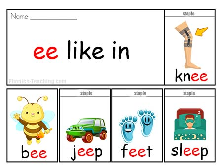 Flip Book ee  Phonics poster