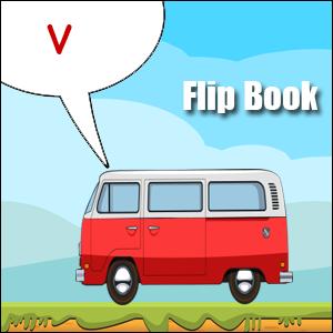 v words flip book