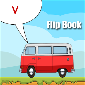 v words flip book