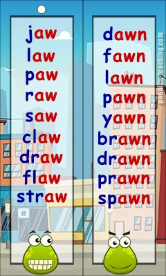 awn and aw words