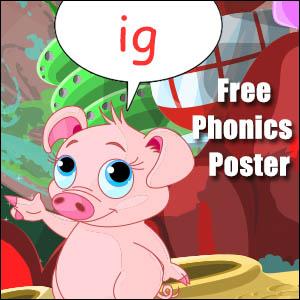 ig word family phonics poster