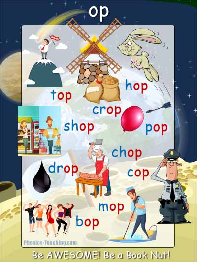 op word family phonics poster