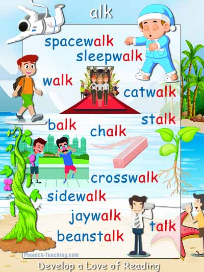 alk words phonics poster with pictures
