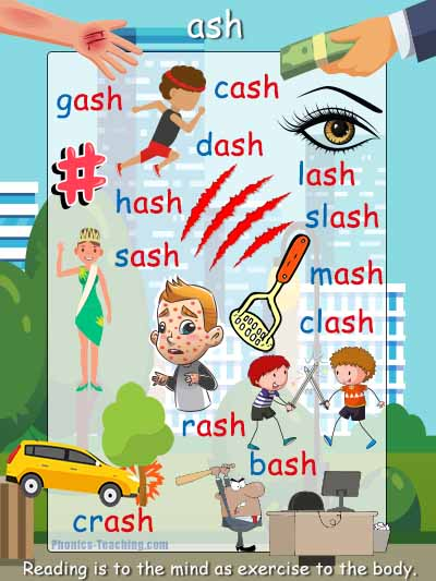 ash words phonics poster with pictures