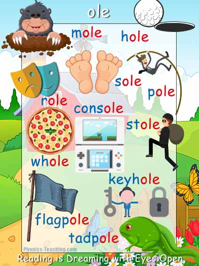ole words phonics poster with pictures