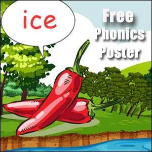 words with ice phonics poster for kids