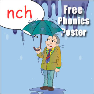 words with nch phonics poster for kids